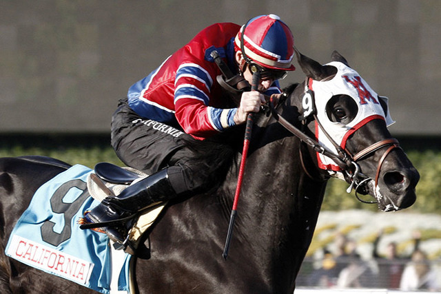 Bold Chieftain, with jockey Russell Baze aboard, wins the $500,000 Sunshine Millions Classic horse race at Santa Anita Park in Arcadia, Calif., Saturday, Jan. 30, 2010.  (Reed Saxon/AP)