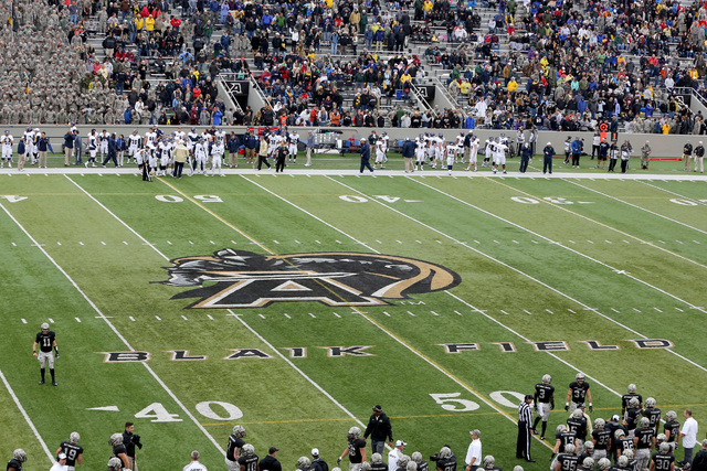 The logo on the field for the Army Black Knights during a college football game on Saturday, Oct. 11, 2014 in  West Point, N.Y. Rice won 41-21. (AP Photo/Gregory Payan)