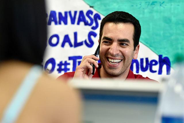 Democratic congressional candidate Ruben Kihuen smiles as he makes phone calls from his campaign office Tuesday, June 14, 2016, in Las Vegas. (David Becker/Las Vegas Review-Journal) Follow @davidj ...