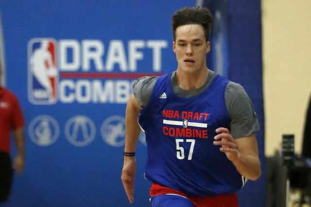 Stephen Zimmerman, from UNLV, participates in the NBA draft basketball combine Friday, May 13, 2016, in Chicago. (Charles Rex Arbogast/Ap)