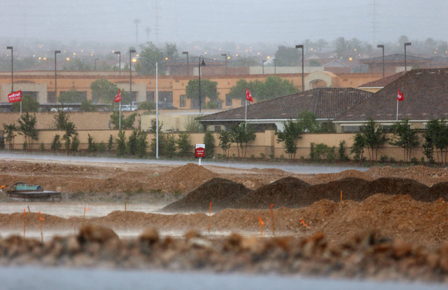 Rain and hail pound down upon a construction area near homes close to Oquendo and Fort Apache roads in southwest Las Vegas, Thursday, June 30, 2016. (Ronda Churchill/Las Vegas Review-Journal)