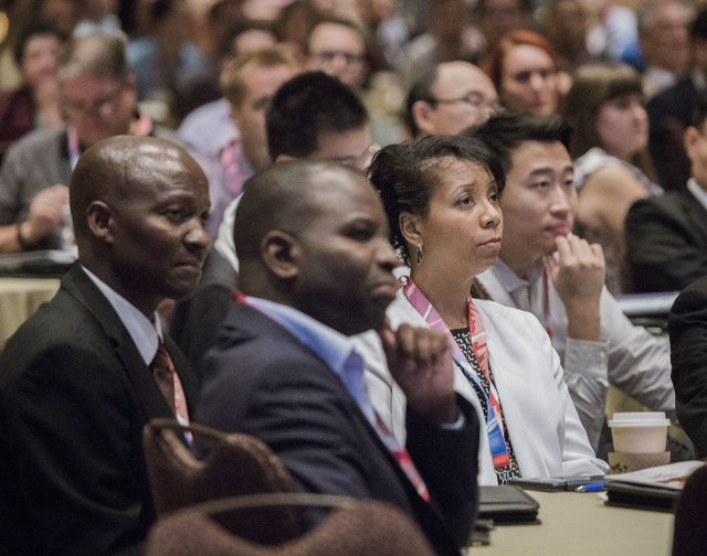 People listen while casino resort developer Steve Wynn speaks during the International Conference on Risk Taking convention at the Mirage on Tuesday, June 7, 2016.  (Jeff Scheid/Las Vegas Review-J ...