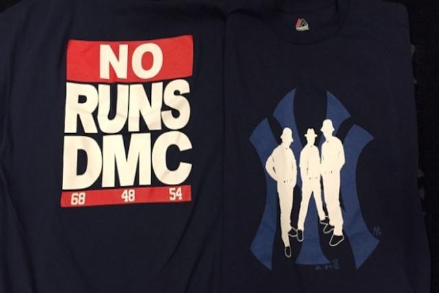 Yankees 'NO RUNS DMC' T-shirts (Courtesy YankeesPR/Twitter)