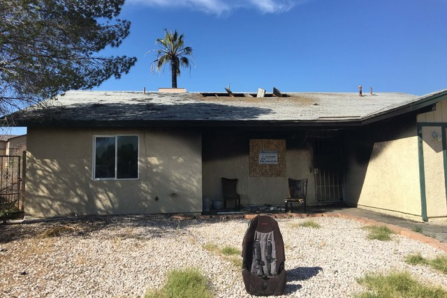 A fire destroyed a home at 5463 Yvonne Circle just after midnight Monday, June 13, 2016. (Bizuayehu Tesfaye/Las Vegas Review-Journal Follow @bizutesfaye)