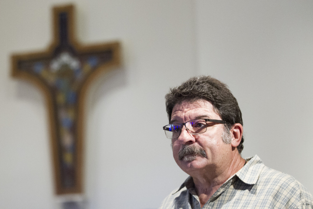 Lewis Theokas, emcee for the Third Anniversary Memorial Service of the Yarnell Hill Fire, speaks at the Yarnell Community Church on Thursday, June 30, 2016, in Yarnell, Ariz. Theokas lost his only ...