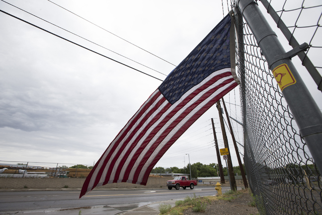 An American flag flies in front of the Prescott Fire Department Station 7 during the third anniversary of the Yarnell Hill Fire on Thursday, June 30, 2016, in Prescott, Ariz. Erik Verduzco/Las Veg ...
