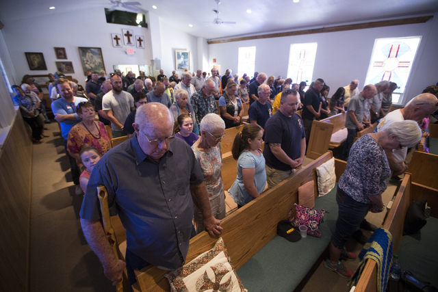 People attend the Third Anniversary Memorial Service of the Yarnell Hill Fire at the Yarnell Community Church on Thursday, June 30, 2016, in Yarnell, Ariz. Erik Verduzco/Las Vegas Review-Journal F ...