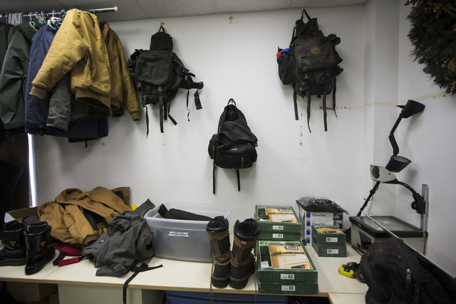 The equipment room inside the Prescott Fire Department Station 7, home to the 19 members of the Granite Mountain Hotshot crew killed while battling a fire in Yarnell, Ariz., three years ago, is se ...