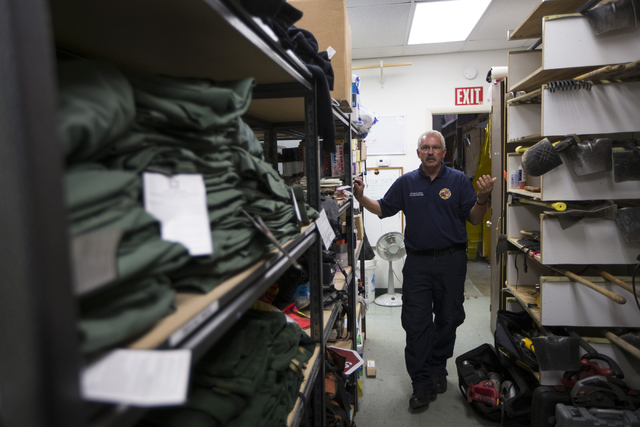 Don Devendorf, division chief for the Prescott Fire Department, gives a tour of the Prescott Fire Department Station 7, home to the 19 members of the Granite Mountain Hotshot crew killed while bat ...