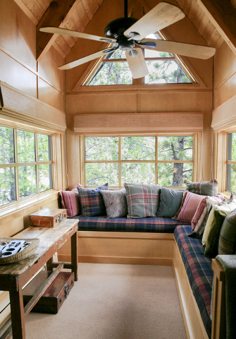 Architect Ted Rexing designed Dr. Jean McCuske cabin to provide her with reading areas like this one. (Elke Cote/Real Estate Millions)