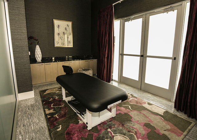 The luxury apartment even has a spa room for massage therapy. (Elke Cote/RJRealEstate.Vegas)
