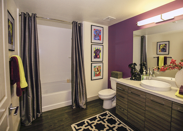 The shower head has a vitamin C dispenser. (Elke Cote/RJRealEstate.Vegas)