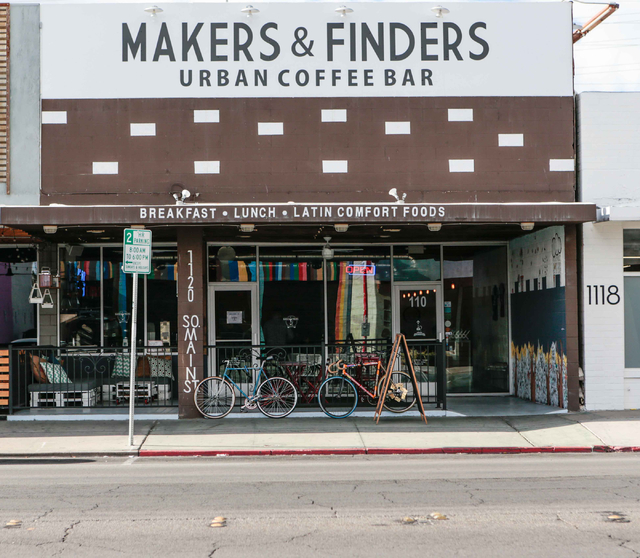 A front entry view of the Makers & Finders coffee shop is shown, at 1120 S. Main St. #110, Las Vegas, Wednesday, Jan. 6, 2016. (Donavon Lockett/Las Vegas Review-Journal)
