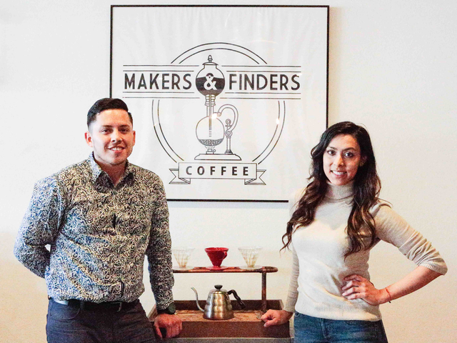 Co-owners Josh Molina, left, and Valeria Varela, pose for a picture next to their framed logo, inside of the Makers & Finders coffee shop at 1120 S. Main St. #110, Las Vegas, Wednesday, Jan. 6 ...