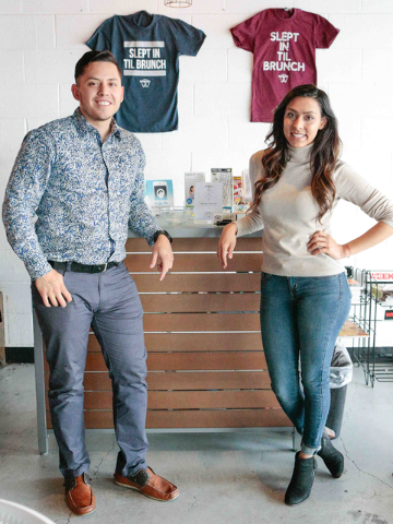 Co-owners Josh Molina, left, and Valeria Varela, pose for a picture next to their entry area and logo T-shirts inside of the Makers & Finders coffee shop at 1120 S. Main St. #110, Las Vegas, W ...