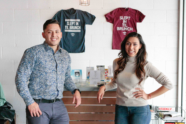 Co-owners Josh Molina, left, and Valeria Varela, pose for a picture next to the entry area and logo T-shirts inside of the Makers & Finders coffee shop at 1120 S. Main St. #110, Las Vegas, Wed ...