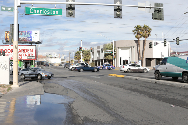 A view looking north along South Main Street at the corner of East Charleston Blvd, Las Vegas, Wednesday, Jan. 6, 2016. (Donavon Lockett/Las Vegas Review-Journal)