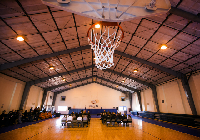 People gather inside the gym during the grand opening of Summit View Youth Correctional Center, a 48-bed facility in North Las Vegas, on Friday, Feb. 26, 2016. (Jeff Scheid/Las Vegas Review-Journa ...