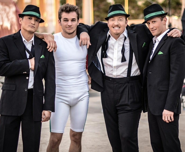"Paul Lopez, second from right, is The Frat Pack's Fat Frank in ""Absinthe"" at Caesars Palace."