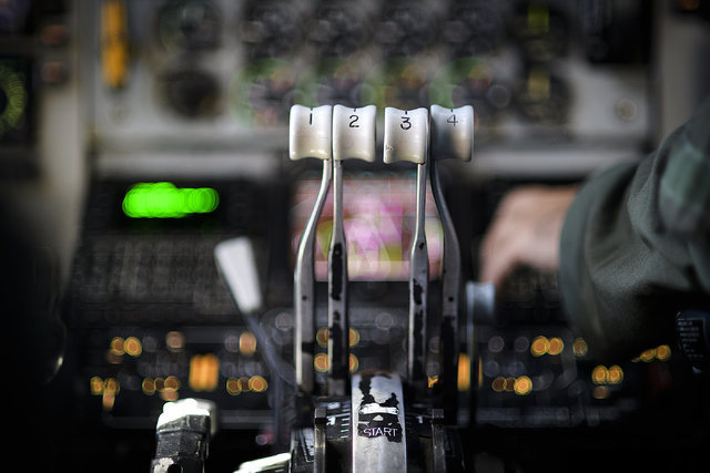 The engine throttle of a KC-135 Stratotanker sits in position as the aircrew prepares for landing July 18, 2016 at Nellis Air Force Base, Nevada. Red Flag 16-3 is one of four Red Flag exercises at ...