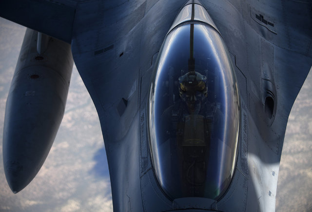 A F-16 Fighting Falcon from Shaw Air Force Base, S.C. refuels from a KC-135 Stratotanker July 18, 2016 while taking part in exercise Red Flag at Nellis Air Force Base, Nevada. Red Flag  (Tech. Sgt ...