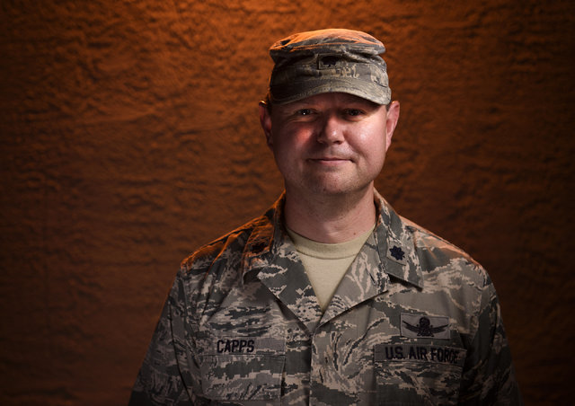 Lt. Col. Brian Capps, Air Force Space Command, stands outside of the Red Flag building, July 22, 2016 on Nellis Air Force Base, Nevada. Capps is in charge of space and cyber integration for Red Fl ...