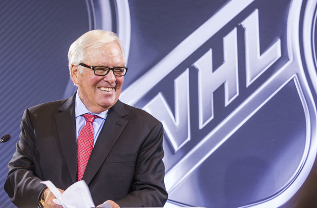 Bill Foley, Las Vegas billionaire businessman and owner of the new National Hockey League expansion team, smiles during a news conference at Encore Las Vegas on Wednesday, June 22, 2016. (Jeff Sch ...