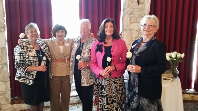 From left, Hon. Susan Scann, Eleissa LaVelle, Hon. Sally Loehrer, Shelley Berkley, Charlane Bigelow Stead are seen Aug. 7 at the Las Vegas Country Club as the Southern Nevada Association of Women  ...