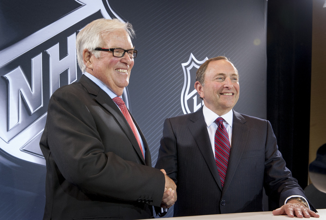 New Las Vegas National Hockey League (NHL) team owner Bill Foley, left, and NHL Commissioner Gary Bettman announce the league's expansion to Las Vegas in a news conference held at the Encore at Wy ...