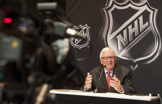 New Las Vegas National Hockey League (NHL) team owner Bill Foley speaks to the media in a news conference held at the Encore at Wynn Las Vegas on Wednesday, June 22, 2016. NHL Commissioner Gary Be ...