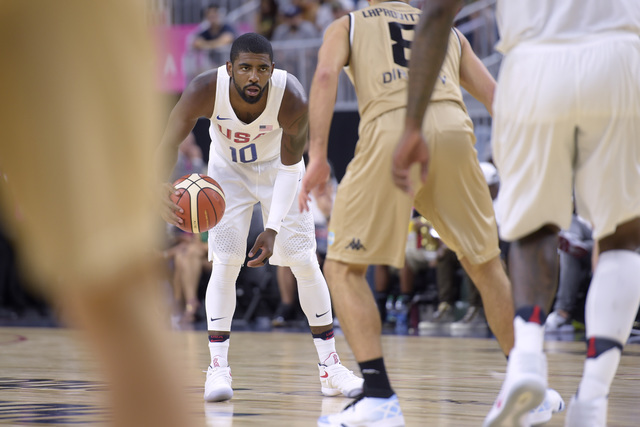 Kyrie Irving of the United States waits for his offense to get set against Argentina during a USA Basketball showcase exhibition game at T-Mobile Arena. (Sam Morris/Las Vegas News Bureau)