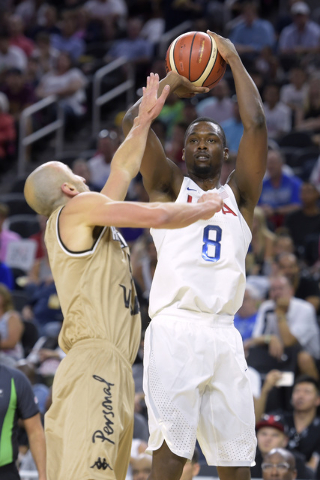 Harrison Barnes of the United States shoots over Manu Ginobili of Argentina during a USA Basketball showcase exhibition game at T-Mobile Arena. (Sam Morris/Las Vegas News Bureau)