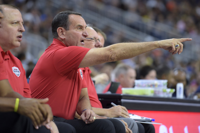 Head coach Mike Krzyzewski of the United States directs his players against Argentina during a USA Basketball showcase exhibition game at T-Mobile Arena. (Sam Morris/Las Vegas News Bureau)