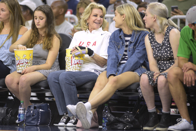 Elaine Wynn sits courtside as the United States takes on Argentina during a USA Basketball showcase exhibition game at T-Mobile Arena. (Sam Morris/Las Vegas News Bureau)
