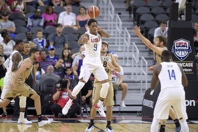 DeMar DeRozan of the United States dishes off a pass to Draymond Green during a USA Basketball showcase exhibition game against Argentina at T-Mobile Arena. (Sam Morris/Las Vegas News Bureau)