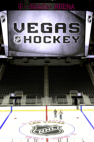 T-Mobile Arena installs a NHL professional hockey rink on the venue's event floor for the first time. Saturday, July 30, 2016. CREDIT: Glenn Pinkerton/Las Vegas News Bureauu