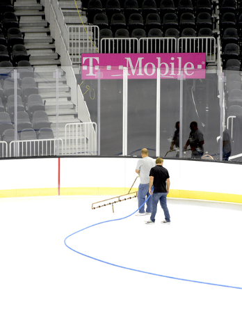 T-Mobile Arena installs ice on the venue's event floor for the first time. Saturday, July 30, 2016. CREDIT: Glenn Pinkerton/Las Vegas News Bureauu