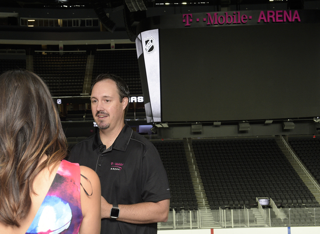 Dan Quinn Arena Vice President/General Manager being interviewed as T-Mobile Arena installs ice on the venue's event floor for the first time. Saturday, July 30, 2016. CREDIT: Glenn Pinkert ...