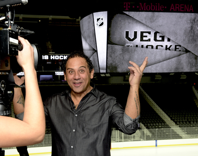 George Salami, Arena Conversion Manager being interviewed as T-Mobile Arena installs ice on the venue's event floor for the first time. Saturday, July 30, 2016. CREDIT: Glenn Pinkerton/Las  ...