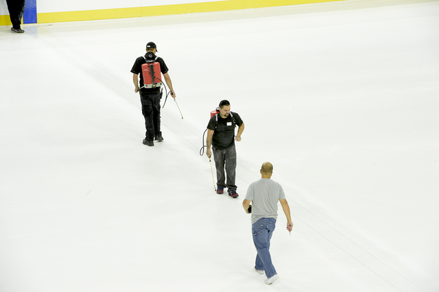 The ice is preped for paint as the T-Mobile Arena installs a hockey rink for the first time. Saturday, July 30, 2016. CREDIT: Glenn Pinkerton/Las Vegas News Bureauu