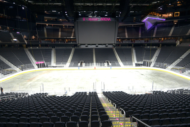 T-Mobile Arena prepares to install ice on the venue's event floor for the first time. Saturday, July 30, 2016. CREDIT: Glenn Pinkerton/Las Vegas News Bureauu