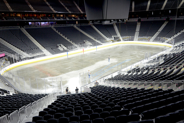 T-Mobile Arena receives the first layer of  ice on the venue's event floor for the first time. Saturday, July 30, 2016. CREDIT: Glenn Pinkerton/Las Vegas News Bureauu