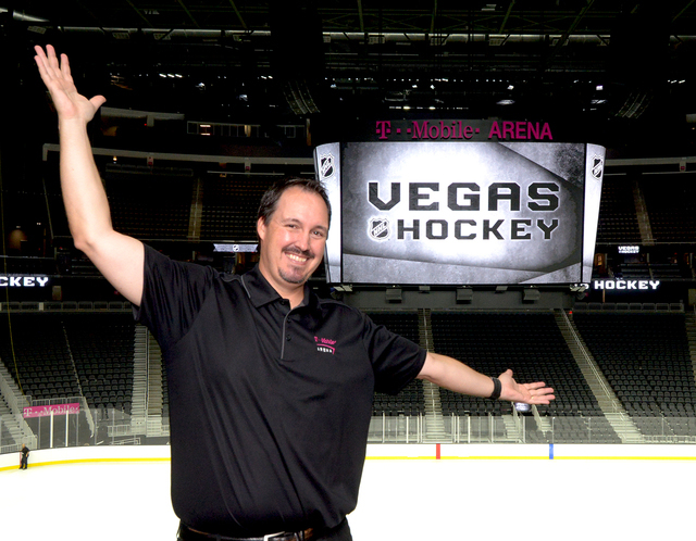 Dan Quinn Arena Vice President/General Manager welcomes hockey to Las Vegas as T-Mobile Arena installs ice on the venue's event floor for the first time. Saturday, July 30, 2016. CREDIT: Gl ...