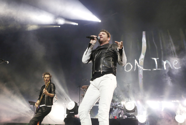 John Taylor, left, and Simon Le Bon of Duran Duran perform at Mandalay Bay hotel-casino on Friday, July 29, 2016. (Bizuayehu Tesfaye/Las Vegas News Bureau)