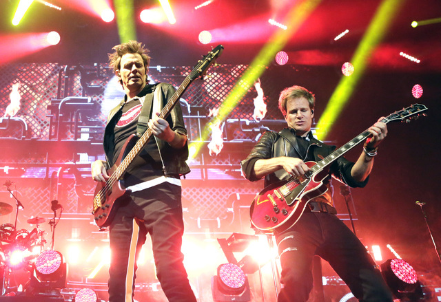 John Taylor, left, and Dom Brown of Duran Duran perform at Mandalay Bay hotel-casino on Friday, July 29, 2016. (Bizuayehu Tesfaye/Las Vegas News Bureau)