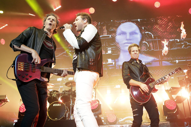 John Taylor, left, Simon Le Bon and Dom Brown of Duran Duran perform at Mandalay Bay hotel-casino on Friday, July 29, 2016. (Bizuayehu Tesfaye/Las Vegas News Bureau)