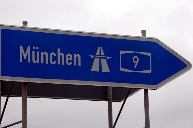 A traffic sign showing the highway to Munich is seen in Ingolstadt March 3, 2016. (Michael Dalder/Reuters)