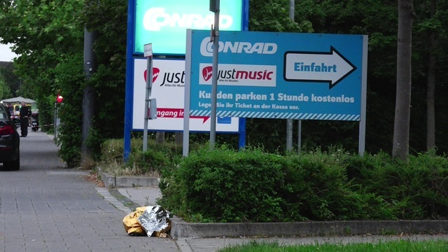 A screen grab taken from video footage shows a discarded first aid blanket lying in the street near to the Olympia shopping mall during a shooting rampage in Munich, July 22, 2016.  (dedinac/Marc  ...