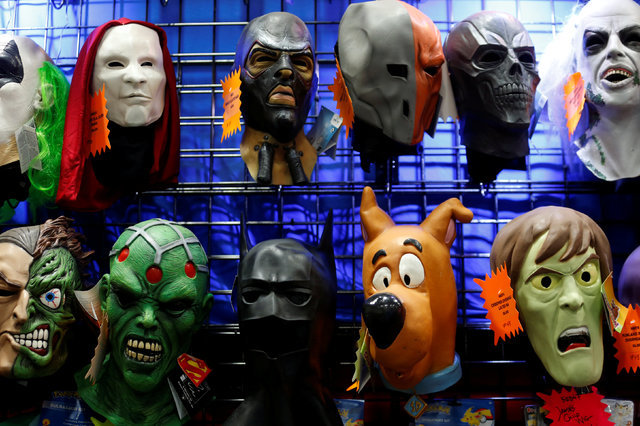Masks are shown for sale on the convention floor at the pop culture event Comic-Con International in San Diego, California, United States July 22, 2016.    REUTERS/Mike Blake