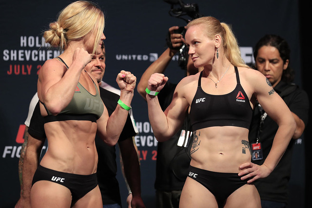 Jul 22, 2016; Chicago, IL, USA; Holly Holm left and Valentina Shevchenko right during weigh ins for UFC Fight Night at United Center. (Kamil Krzaczynski/USA Today Sports)